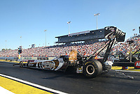Mar. 16, 2013; Gainesville, FL, USA; NHRA top fuel dragster driver Shawn Langdon during qualifying for the Gatornationals at Auto-Plus Raceway at Gainesville. Mandatory Credit: Mark J. Rebilas-
