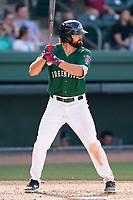 Right fielder Devlin Granberg (26) of the Greenville Drive in a game against the Asheville Tourists on Sunday, June 6, 2021, at Fluor Field at the West End in Greenville, South Carolina. (Tom Priddy/Four Seam Images)