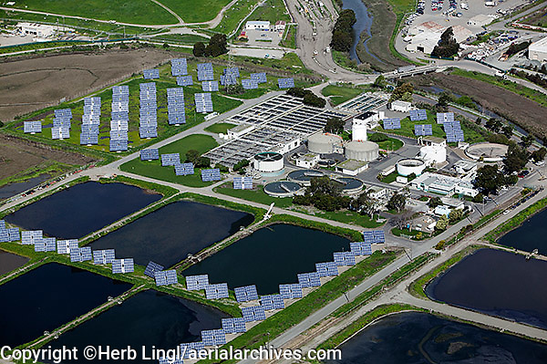 aerial photography solar panel installation at Richmond California wastewater treatment plant