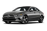 Stock pictures of low aggressive front three quarter view of 2019 Mercedes Benz A-Class-Sedan A-220 4 Door Sedan Low Aggressive