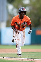 Baltimore Orioles Jacob Brown (53) runs home during an Instructional League game against the Tampa Bay Rays on October 5, 2017 at Ed Smith Stadium in Sarasota, Florida.  (Mike Janes/Four Seam Images)