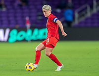 ORLANDO, FL - FEBRUARY 21: Sophie Schmidt #13 of Canada passes the ball during a game between Canada and Argentina at Exploria Stadium on February 21, 2021 in Orlando, Florida.