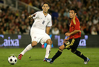 Clint Dempsey and Santi Cazorla, right, .Spain 1-0 over USA, in Santander, Spain, Wednesday, June 3, 2008.
