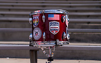 A drum from the American Outlaws sits in the stands