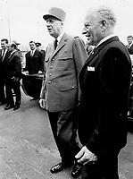 July 1967 FILE -<br /> <br /> De Gaulle, Roland Michener<br /> <br /> PHOTO :  Jeff Goode - Toronto Star Archives - AQP