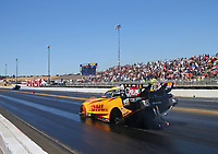 Jul 30, 2017; Sonoma, CA, USA; NHRA funny car driver J.R. Todd (near) against Jack Beckman in the semi finals during the Sonoma Nationals at Sonoma Raceway. Mandatory Credit: Mark J. Rebilas-USA TODAY Sports