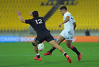 South's Josh Ioane puts in a cross kick for the winning try during the rugby match between North and South at Sky Stadium in Wellington, New Zealand on Saturday, 5 September 2020. Photo: Dave Lintott / lintottphoto.co.nz