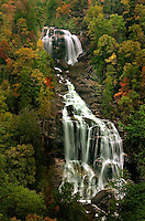Whitewater Falls waterfall in autumn in the North Carolina mountains.