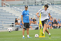 Saint Louis, MO August 1 2013<br /> Assistant coach Zinedine Zidane watches Kaka in shooting practice.<br /> Real Madrid practiced at Herman Stadium on the campus of Saint Louis University ahead of their international friendly with Inter Milan at the Edward Jones Dome.