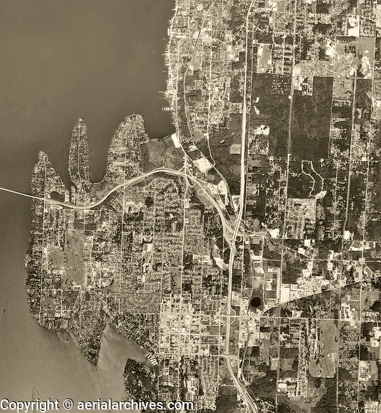 historical aerial photograph of Bellevue, Washington, 1968