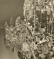 historical aerial photograph of Bellevue, Washington, 1968