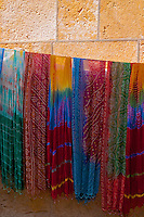 Saris on a wall for sale in Jaisalmer, Rajasthan, India