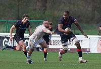 Tjuee Uanivi of London Scottish during the Greene King IPA Championship match between London Scottish Football Club and Rotherham Titans at Richmond Athletic Ground, Richmond, United Kingdom on 7 April 2018. Photo by Alan  Stanford/PRiME Media Images.