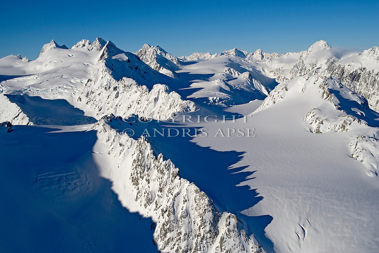 Aerial view of The Garden of Allah snowfield in the Southern Alps. Westland New Zealand.