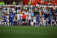 FAO SPORTS PICTURE DESK<br /> Pictured: Leighton Baines of Everton (R) scoring his first goal with a free kick with the ball going between Swansea's wall. Saturday, 24 March 2012<br /> Re: Premier League football, Swansea City FC v Everton at the Liberty Stadium, south Wales.