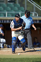 High Point-Thomasville HiToms catcher Jonathan Barham (35) (College of Charleston) chases after the baseball during the game against the Martinsville Mustangs at Finch Field on July 26, 2020 in Thomasville, NC.  The HiToms defeated the Mustangs 8-5. (Brian Westerholt/Four Seam Images)