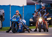 Sep 1, 2019; Clermont, IN, USA; NHRA pro stock motorcycle rider Andie Rawlings during qualifying for the US Nationals at Lucas Oil Raceway. Mandatory Credit: Mark J. Rebilas-USA TODAY Sports