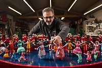 Model Maker puts the finishing touches to the festive display at Babbacombe Model Village.