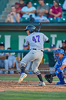 Ronaiker Palma (47) of the Grand Junction Rockies at bat against the Ogden Raptors at Lindquist Field on August 28, 2019 in Ogden, Utah. The Rockies defeated the Raptors 8-5. (Stephen Smith/Four Seam Images)