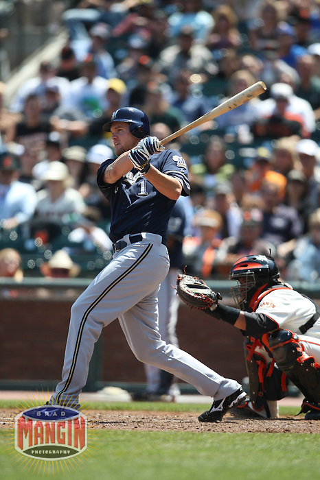 SAN FRANCISCO - JULY 19:  Corey Hart of the Milwaukee Brewers bats during the game against the San Francisco Giants at AT&T Park in San Francisco, California on July 19, 2008.  The Brewers defeated the Giants 8-5.  Photo by Brad Mangin