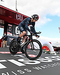 Chris Froome (GBR) Ineos Grenadiers powers off the start ramp of Stage 13 of the Vuelta Espana 2020 an individual time trial running 33.7km from Muros to Mirador de Ézaro. Dumbría, Spain. 3rd November 2020. <br /> Picture: Unipublic/BaixauliStudio | Cyclefile<br /> <br /> All photos usage must carry mandatory copyright credit (© Cyclefile | Unipublic/BaixauliStudio)