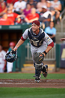 Frisco RoughRiders catcher Patrick Cantwell (3) during a game against the Springfield Cardinals  on June 4, 2015 at Hammons Field in Springfield, Missouri.  Frisco defeated Springfield 8-7.  (Mike Janes/Four Seam Images)