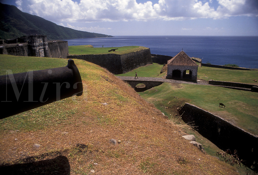 """AJ2476, Guadeloupe, fort, Caribbean, Caribbean Islands, Historic Fort St. Charles (1643) on the island of Basse-Terre in Guadeloupe (a french department) """"""""The Emerald Isle""""""""."""