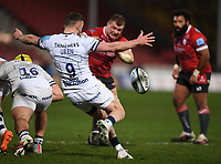 12th February 2021; Kingsholm Stadium, Gloucester, Gloucestershire, England; English Premiership Rugby, Gloucester versus Bristol Bears; Andy Uren of Bristol Bears kicks under pressure from Alex Craig of Gloucester