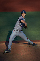 Florida Atlantic Owls relief pitcher Jack Stroud (26) in action against the Charlotte 49ers at Hayes Stadium on April 2, 2021 in Charlotte, North Carolina. The 49ers defeated the Owls 9-5. (Brian Westerholt/Four Seam Images)