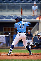 Charlotte Stone Crabs right fielder Manny Sanchez (17) at bat during a game against the Lakeland Flying Tigers on April 16, 2017 at Charlotte Sports Park in Port Charlotte, Florida.  Lakeland defeated Charlotte 4-2.  (Mike Janes/Four Seam Images)