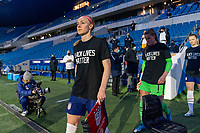 LE HAVRE, FRANCE - APRIL 13: Becky Sauerbrunn #4 of the USWNT enters the field before a game between France and USWNT at Stade Oceane on April 13, 2021 in Le Havre, France.