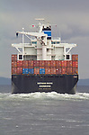 Container Ship, Puget Sound, Admiralty Inlet, German-flagged container ship Westwood Pacific, view from stern, Westwood Shipping Lines outbound for the Pacific Ocean, Washington State, Pacific Northwest, USA,