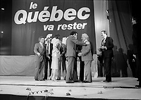 Parti Quebecois  candidates join leader  Rene Levesque  onstage after his victory speech on election night, April 13, 1981.<br /> <br /> He  got elected for a second term