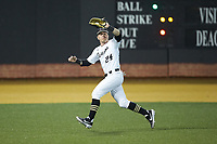 Wake Forest Demon Deacons left fielder Chris Lanzilli (24) makes a running catch during the game against the Sacred Heart Pioneers at David F. Couch Ballpark on February 15, 2019 in  Winston-Salem, North Carolina.  The Demon Deacons defeated the Pioneers 14-1.  (Brian Westerholt/Four Seam Images)