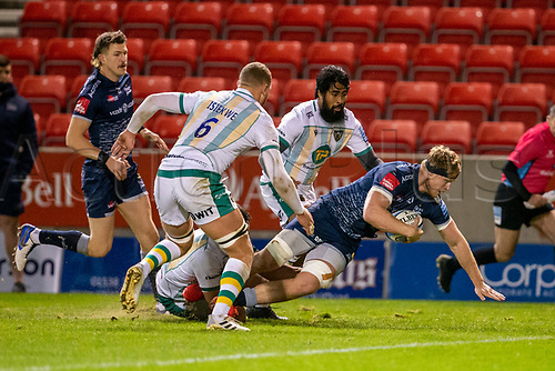 20th November 2020; AJ Bell Stadium, Salford, Lancashire, England; English Premiership Rugby, Sale Sharks versus Northampton Saints; Dan du Preez of Sale Sharks scores Sales second try