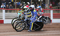 Heat 2: Charley Powell (white), Nick Laurence (red), Tom Brennan (yellow) and Ryan MacDonald (blue)<br /> <br /> Photographer Rob Newell/CameraSport<br /> <br /> National League Speedway - Lakeside Hammers v Eastbourne Eagles - Lee Richardson Memorial Trophy, First Leg - Friday 14th April 2017 - The Arena Essex Raceway - Thurrock, Essex<br /> © CameraSport - 43 Linden Ave. Countesthorpe. Leicester. England. LE8 5PG - Tel: +44 (0) 116 277 4147 - admin@camerasport.com - www.camerasport.com