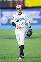 Coty Blanchard (7) of the Hudson Valley Renegades warms up in the outfield prior to the game against the Brooklyn Cyclones at Dutchess Stadium on June 18, 2014 in Wappingers Falls, New York.  The Cyclones defeated the Renegades 4-3 in 10 innings.  (Brian Westerholt/Four Seam Images)