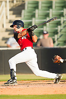 Joe De Pinto #2 of the Kannapolis Intimidators follows through on his swing against the Hickory Crawdads at CMC-Northeast Stadium on April 8, 2012 in Kannapolis, North Carolina.  The Intimidators defeated the Crawdads 12-11.  (Brian Westerholt/Four Seam Images)