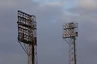 Pictured: The floodlights at St Helen's Ground in Swansea Bay. Friday 16 April 2021<br /> Re: People enjoy an evening out after Covid-19 lockdown rules were relaxed, in Swansea Bay, Wales, UK.