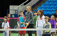 Moskou, Russia, Februari 4, 2016,  Fed Cup Russia-Netherlands,  Draw Ceremony Maria Sharapova and Darya Kasatkina playing with kids<br /> Photo: Tennisimages/Henk Koster