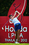 CHON BURI, THAILAND - FEBRUARY 16:  Pinrath Loomboonruang of Thailand tees off on the 17th hole during day one of the LPGA Thailand at Siam Country Club on February 16, 2012 in Chon Buri, Thailand.  Photo by Victor Fraile / The Power of Sport Images