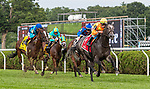 July 24, 2021: Caravel #1, ridden by jockey Irad Ortiz Jr. wins the Caress Stakes (Grade 3) at Saratoga Race Course in Saratoga Springs, NY on July 24, 2021. Rob Simmons/Eclipse Sportswire/CSM