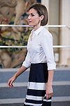 """King Felipe VI of Spain and Queen Letizia of Spain attends a reception to the students participating in the X edition of the program """"Scholarships Europe"""" at the University Francisco de Vitoria at Zarzuela Palace in Madrid, July 17. 2015.<br />  (ALTERPHOTOS/BorjaB.Hojas)"""