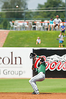 Augusta GreenJackets shortstop Travious Relaford (2) battles the sun as he tries to field this pop fly during the South Atlantic League game against the Greensboro Grasshoppers at NewBridge Bank Park on August 11, 2013 in Greensboro, North Carolina.  The GreenJackets defeated the Grasshoppers 6-5 in game one of a double-header.  (Brian Westerholt/Four Seam Images)