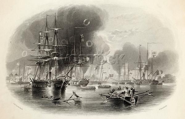 First Opium War - the British bombard Canton.        Date: 1841