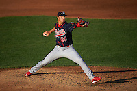 Peoria Chiefs pitcher Jack Flaherty (28) delivers a pitch during a game against the Lansing Lugnuts on June 6, 2015 at Cooley Law School Stadium in Lansing, Michigan.  Lansing defeated Peoria 6-2.  (Mike Janes/Four Seam Images)