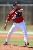 St. Louis Cardinals pitcher Matt Pearce (36) during a minor league spring training game against the Miami Marlins on March 31, 2015 at the Roger Dean Complex in Jupiter, Florida.  (Mike Janes/Four Seam Images)
