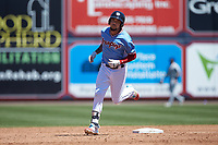 J.P. Crawford (3) of the Lehigh Valley Iron Pigs rounds the bases after hitting a home run against the Durham Bulls at Coca-Cola Park on July 30, 2017 in Allentown, Pennsylvania.  The Bulls defeated the IronPigs 8-2.  (Brian Westerholt/Four Seam Images)