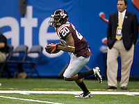 Jayron Hosley of Virginia Tech runs the ball during Sugar Bowl game against Michigan at Mercedes-Benz SuperDome in New Orleans, Louisiana on January 3rd, 2012.  Michigan defeated Virginia Tech, 23-20 in first overtime.