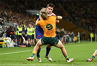 17th July 2021; Brisbane, Australia;  France's Baptiste Couilloud pushes back McDermott (Aus) and scores a try during the Australia versus France, 3rd Rugby Test at Suncorp Stadium, Brisbane, Australia on Saturday 17th July 2021.